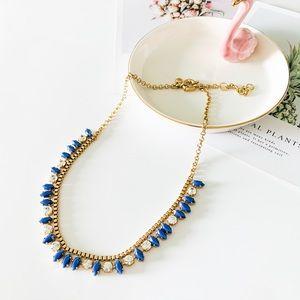 J. Crew Dainty Crystal Statement Necklace Blue